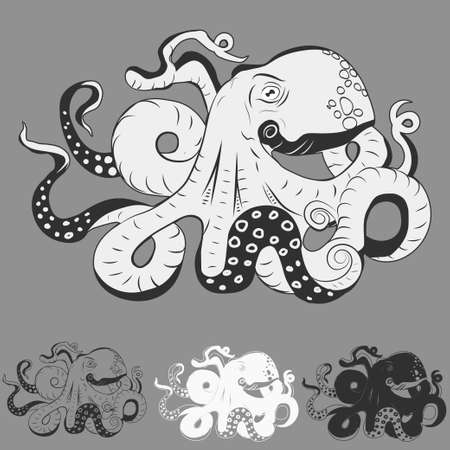 tentacles: Octopus with curling tentacles swimming underwater, hand drawn vector cartoon