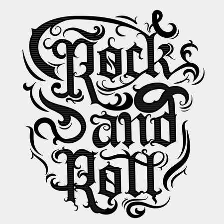 Rock n roll de impresión, del vintage, música rock sello camiseta de impresión, diseño gráfico de vector. camiseta de la obra de arte de impresión de letras