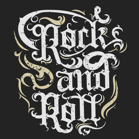 Rock n roll music grunge print, vintage label, rock-music tee print stamp, vector graphic design. t-shirt print lettering artwork