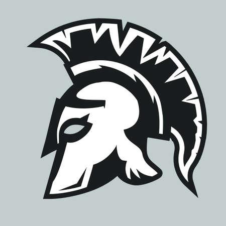 Spartan Helmet silhouette, Greek warrior - Gladiator, legionnaire heroic soldier. vector Illustration