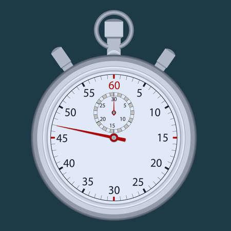 Stopwatch, time measuring. Sport clock timer, flat design vector