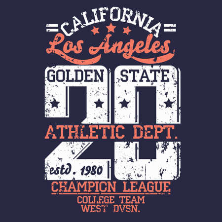 sport wear: Los Angeles Athletics typography stamp, California t-shirt vector emblem graphics, vintage sport wear tee print design