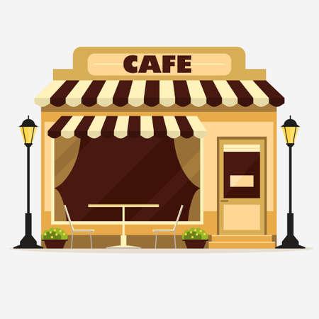 Cafe, winkel van de straat gevel van een gebouw, kleine winkel voorzijde, restaurant gedetailleerd illustratie. Vector