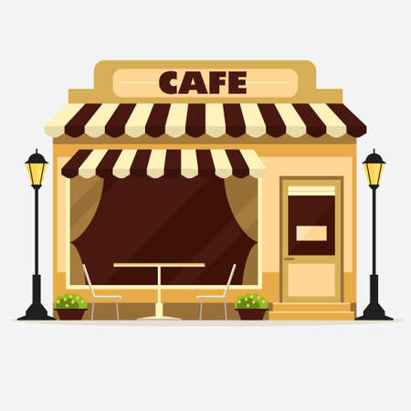 Cafe, Street shop building facade, small store front, restaurant design detailed illustration. Vector