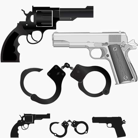 prisoner of war: Gun, revolver and handcuffs on white background, pistol and bracelet, vector illustration of criminal arrest, law and punishment Illustration