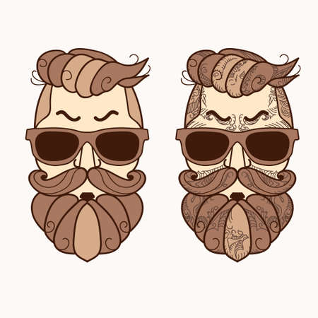 Hipster face, Ornate Zentangle style. Avatar character with brown color beard, hair and glasses. Retro style, vintage design. Vector Illustration