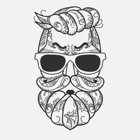Hipster face, Ornate Zentangle style. Avatar character with gray color beard, hair and glasses. Retro style, vintage design. Vector Illustration