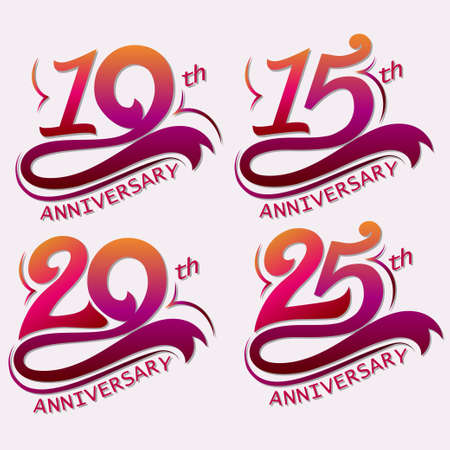 10, 15, 20 and 25th Years Anniversary Design, Template celebration sign - Vector