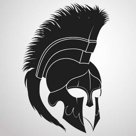roman soldier: Spartan Helmet silhouette, Greek warrior - Gladiator, legionnaire heroic soldier. vector Illustration