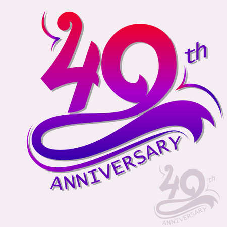 40: 40th Years Anniversary Design, Template celebration sign. Vector