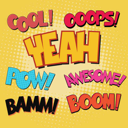 ooops: Comic Book Bubble Text set on a dots pattern background in Pop-Art Retro Style