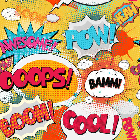 ooops: Pop-Art seamless pattern, Comic Book Bubble Text set on a dots pattern, endless background in Retro Style