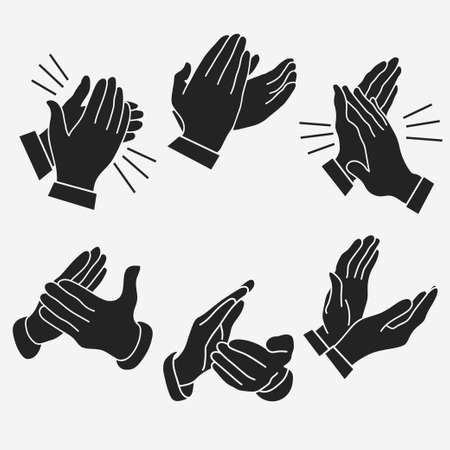 Aplausos, establece las manos aplaudiendo. manos parabellum -dos celebrando con un máximo de cinco. vector
