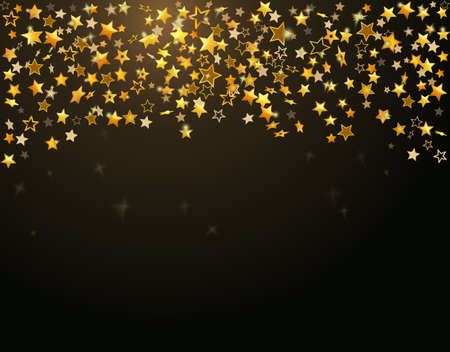 new year's card: Gold stars Holiday background, Falling golden shining star on dark background.