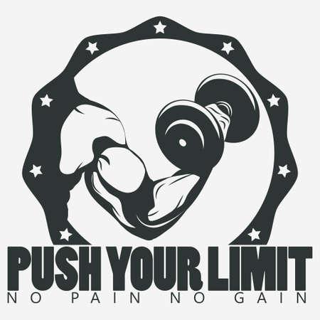 weight gain: Bodybuilder with dumbbell. Biceps Flex arm gym sign. Weightlifter athlete emblem, sport print