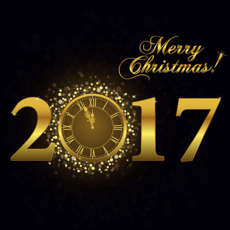 date night: 2017 Gold clock, Happy New Year Luxury background. Merry Christmas Golden Greeting Card with glitter gold numbers. Vector