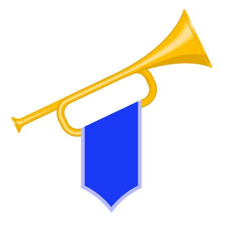 pomp: Trumpet with blue flag icon. Bugle Cartoon Illustration. Horn Flat design. vector