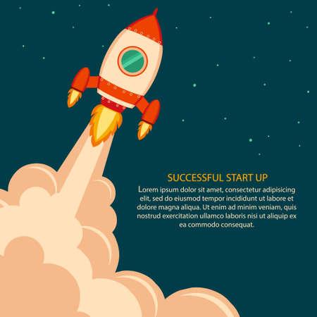 Space rocket launch. Project development. Start up concept flat style. Vector Vektorové ilustrace