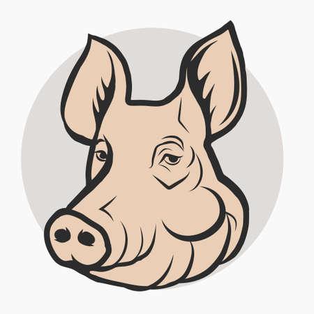 Pig Head Logo, Mascot silhouette sketch Emblem. Vector Illustration
