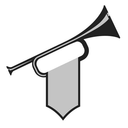pomp: Trumpet with flag icon. Black Bugle Cartoon Illustration. Horn Flat design. vector