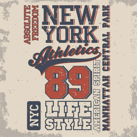 dept: New York Sport Typography, University Athletic Dept. T-shirt graphics, Vintage Print for sportswear apparel. vector Illustration