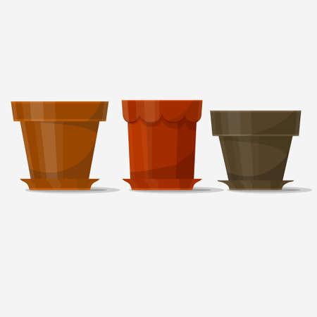 usual: Flower pot, tree pots set for plants. Vector