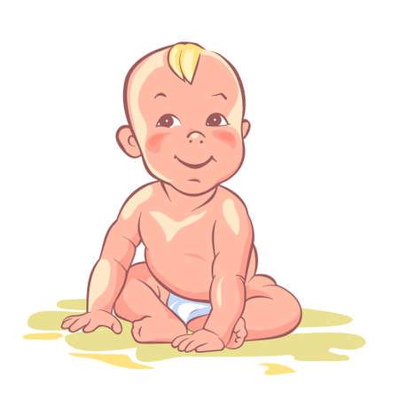 babygirl: Baby boy, little baby-girl, cute child, happy playful kid Illustration