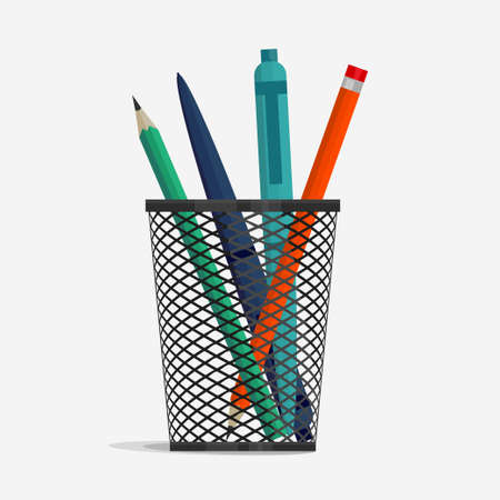 Pen and pencil in holder basket, office organizer box, metal grid clerical vase. vector Illustration