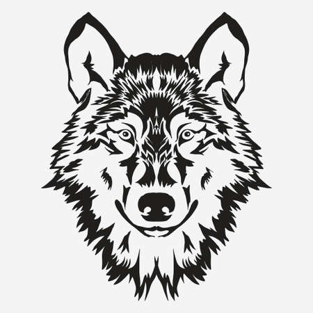 Lobo emblema perno, la silueta de la cabeza de la mascota, logotipo del deporte. Modelo para el diseño de negocios o una camiseta. Vector
