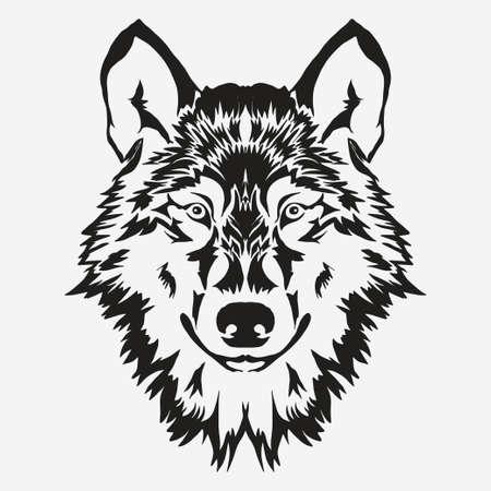 Wolf Bolzen Emblem, Maskottchen-Kopf-Silhouette, Sport Schriftzug. Vorlage für Geschäfts-oder T-Shirt-Design. Vektor