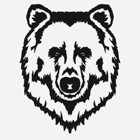de dibujos animados cabeza de oso, grisáceo de la mascota del emblema dibujado a mano, animales salvajes diseño de la camiseta. Vector Ilustración de vector