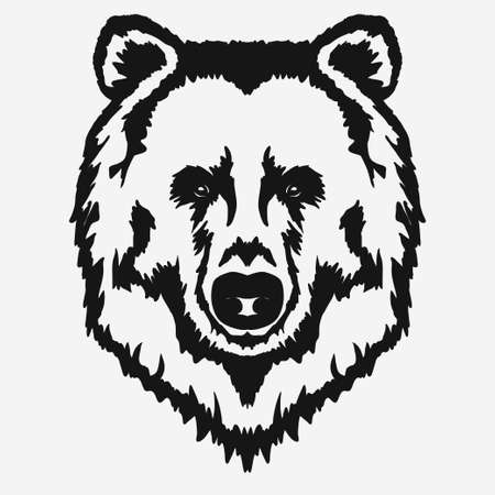 Bear head cartoon, Grizzly Mascot Hand drawn Emblem, Wild animal t-shirt design. Vector