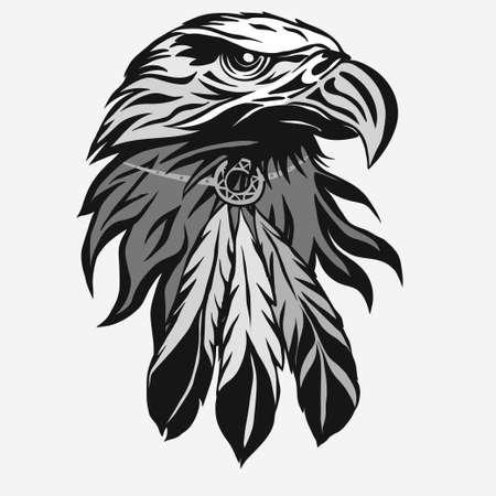 Adelaarskop met Tribal Feathers, Hawk mascotte graphic, Portret van een Amerikaanse zeearend. Vector Stock Illustratie
