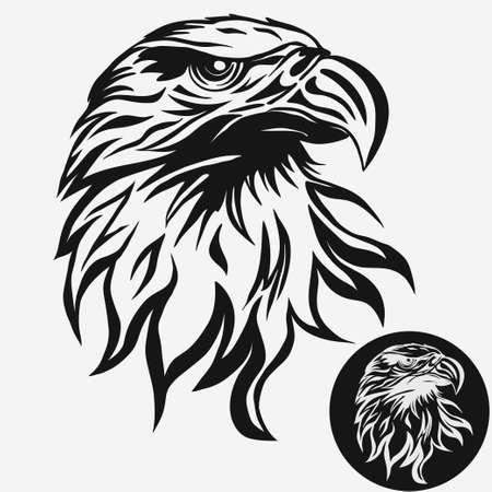 Plantilla de la pista del águila logotipo, mascota del halcón gráfico, Retrato de un águila calva. Vector