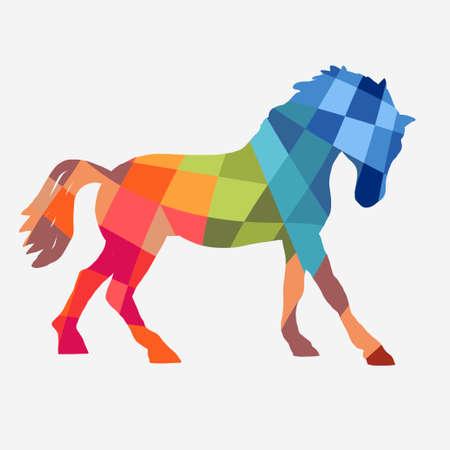 Paard profiel, ontwerp geometrische vormen op een witte achtergrond, grafisch logo template. Silhouet van het paard schets voor een stabiele, boerderij, ras embleem. vector