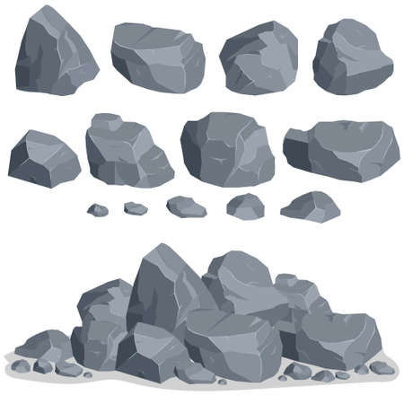 Rock stone set cartoon. Stones and rocks in isometric 3d flat style. Set of different boulders Stok Fotoğraf - 71194606