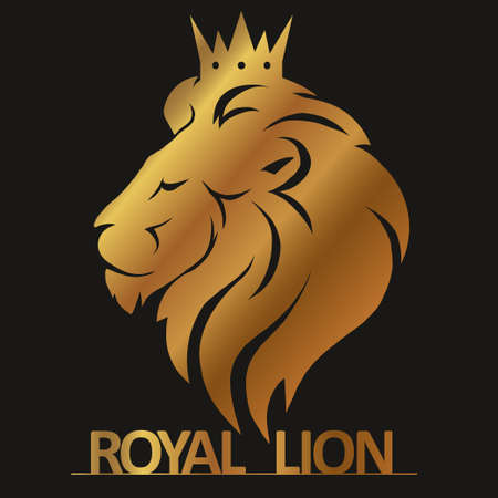Testa di leone con corona logo, profilo gatto reale. emblema di lusso d'oro. Vettore