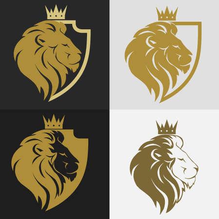Testa di leone con corona e scudo logo, profilo gatto reale. emblema di lusso d'oro. Vettore Logo