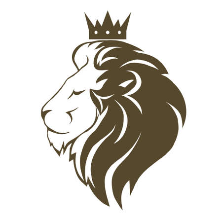 Lion head with crown logo Illustration