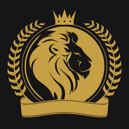 Lion head with crown logo 일러스트