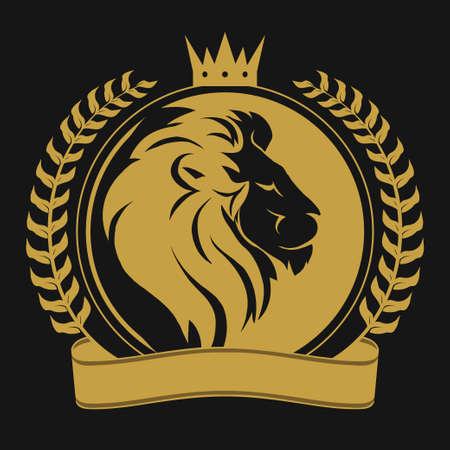 Lion head with crown logo Vettoriali