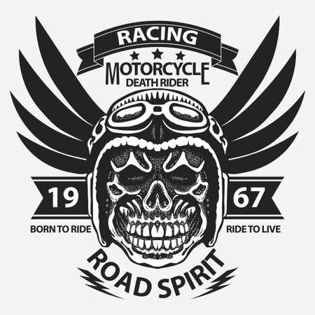 Motorcycle t-shirt graphics. Skull rider in helmet with wings. Road Racer emblem. Biker vintage apparel print. Vector