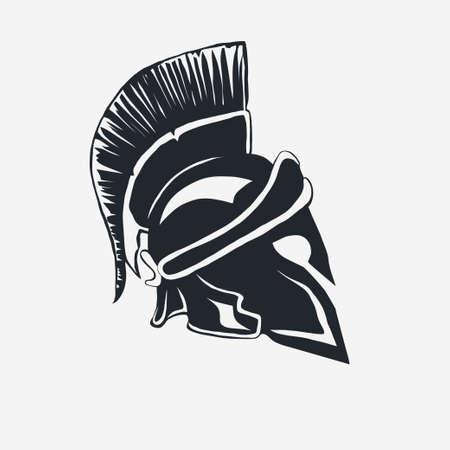 antiquarian: Spartan warrior Helmet in white background.