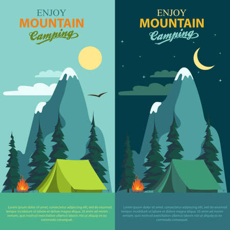 Camping Adventure, bonfire fire and tent, vector