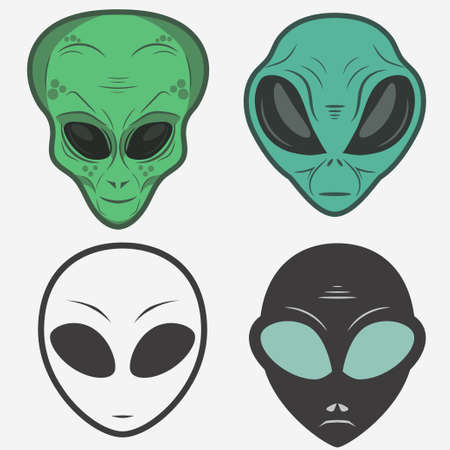 ufology: Alien face icon set, humanoid head, vector Illustration