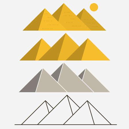 Egypt Pyramids, Giza Landscape. Outline vector Illustration
