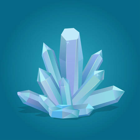 Quartz geometric crystal. Luxury gemstone, blue diamond. Polygon stone mineral vector illustration