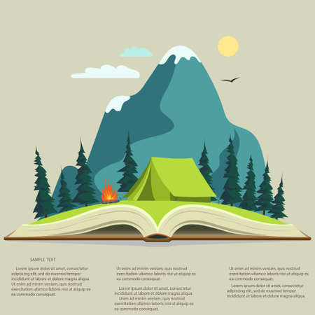 Nature landscape in opened book, camping graphics,  outdoor traveling illustration,  summertime adventure. Vector Illustration