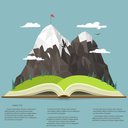 Nature landscape in opened book, mountain peak, business leadership graphics, outdoor traveling illustration, summertime adventure. Vector Ilustração
