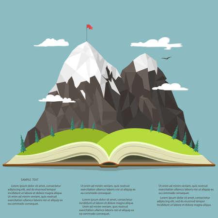 Nature landscape in opened book, mountain peak, business leadership graphics, outdoor traveling illustration, summertime adventure. Vector Illustration